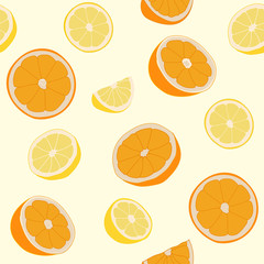 Seamless repeating pattern of oranges and lemons