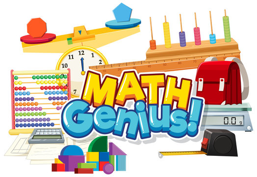 Font design for word math genius with many school items