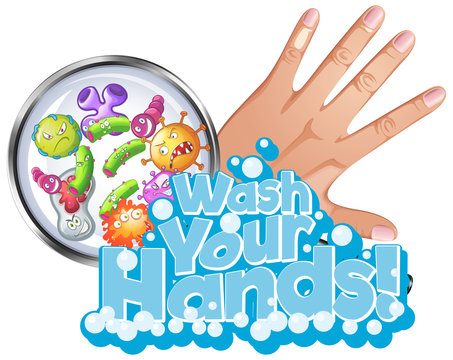 Phrase design for wash your hands with hand and virus cells