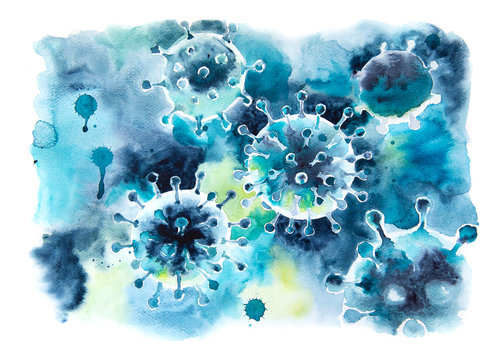 Coronavirus COVID-19, watercolor illustration. Dangerous virus Covid 19-NCP. Coronavirus 2019-nCoV, hand drawn art. Background with artistick viral cells.