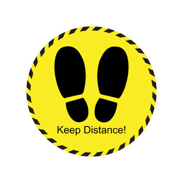 Keep distance footprint sign yellow icon design