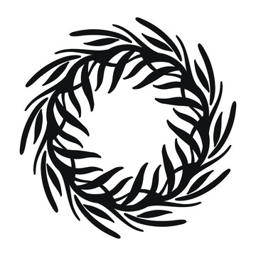 Vector hand drawn spring wreath isolated on white background. Outline willow branch. Doodle style. Floral frame.