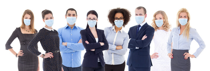 pandemic, health care, business and office work concept - large set of business people portraits in protective masks isolated on white