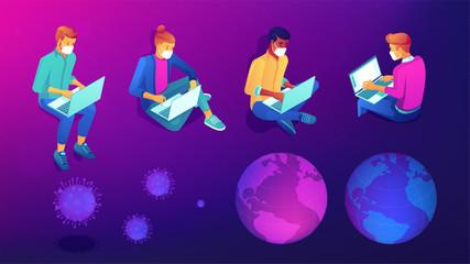 Isometric developers, programmers and designers working from home online during novel coronavirus pandemic set. Social isolation, self-quarantine on violet background. Vector 3d illustrations set.