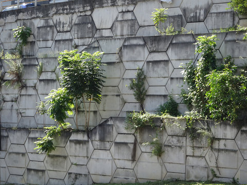 """SEREMBAN, MALAYSIA -JUNE 3, 2019: Re-wall mainly called as """"Reinforced Earth- wall"""" is precast concrete panel constructed with artificial reinforcing and mainly used for retaining walls."""