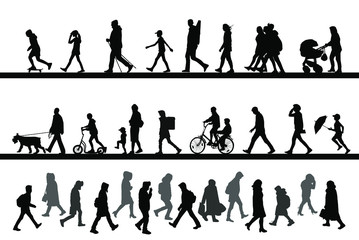 People walk along the road, ride a bike and scooter, rush to work. Children, men and women. Vector silhouettes set.