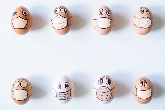 Diverse chicken eggs in with doodle faces wearing medical masks
