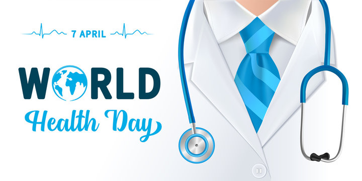 World Health Day, doctor and stethoscope design. Globe in text and normal cardiogram as a concept poster for World Health Day, 7 April. Vector illustration