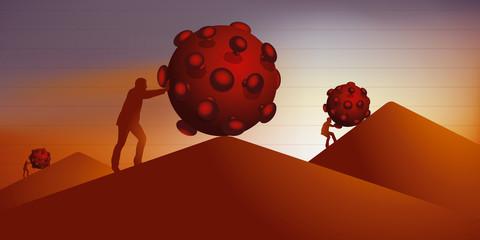 Concept de la lutte contre le coronavirus avec l'évolution de la catastrophe sanitaire vers le pic de l'épidémie.