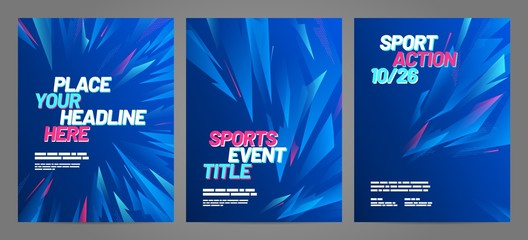 Poster layout design with abstract dynamic shapes for sport event, invitation, awards or championship. Sport background.