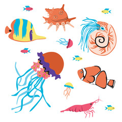 Set with nautilus, fish, jellyfish, colmar or character isolated on a white backgrouScandinavian flat vector stock illustration with a sea animal
