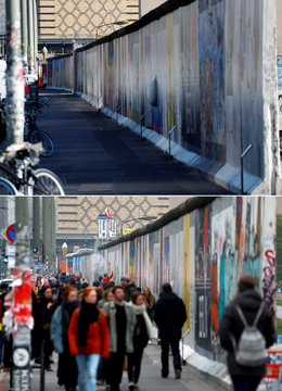 A combination photo shows the East Side Gallery during the coronavirus disease (COVID-19) outbreak and before in Berlin