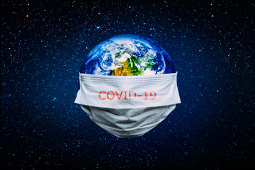 Wall Mural - The whole earth is quarantined, the earth is wearing a mask Coronavirus and Air pollution pm2.5 concept. COVID-19 Elements of this image furnished by NASA