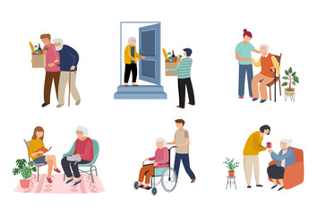 Keuken foto achterwand Wanddecoratie met eigen foto Volunteers series - young people taking care of seniors people. Helping with household chores, walking, reading books, bringing the grocery, pushing the wheelchair.