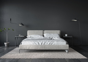 Bedroom interior with white bed and dark gray wall Wall mural