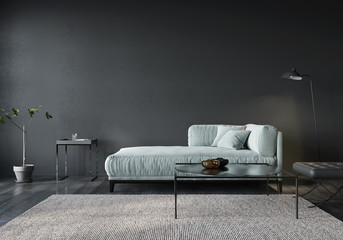 The interior of the living room or reception with a light green sofa Fotomurales