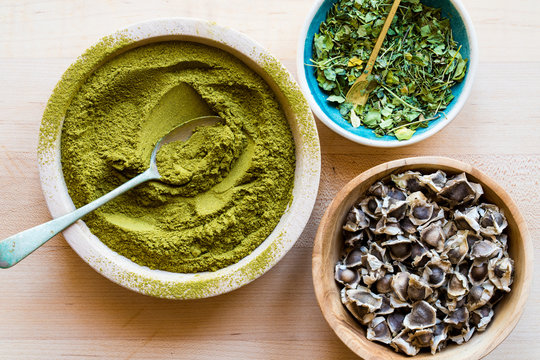 Superfood Moringa in various forms