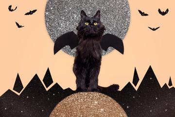 Bat Cat with Moon