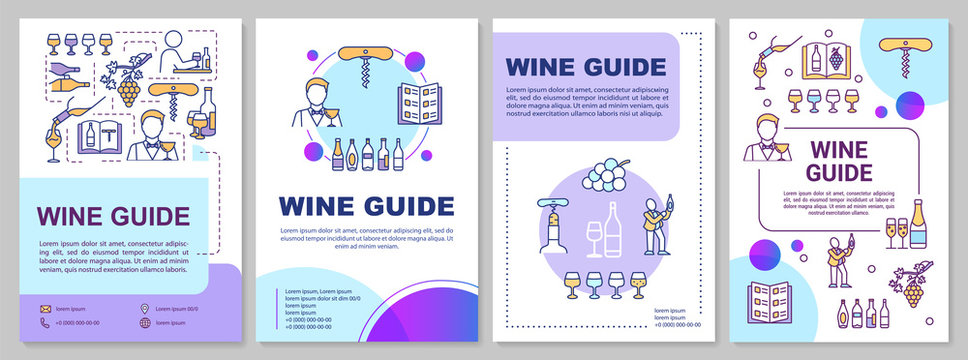 Wine guide brochure template. Beverage restaurant list. Flyer, booklet, leaflet print, cover design with linear icons. Vector layouts for magazines, annual reports, advertising posters