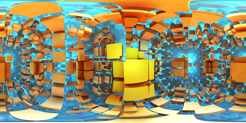 Fototapete - 360 degree alien labyrinth, abstract maze background, equirectangular projection, environment map. HDRI spherical panorama.