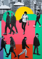 Group of people walking in the city, collage and cut papers.