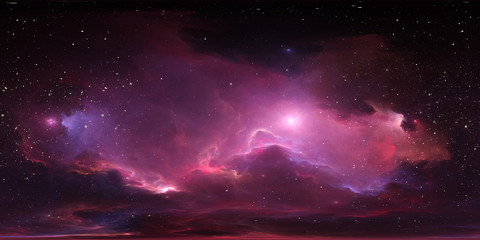 Fototapete - 360 degree stellar system and glowing nebula. Panorama, environment 360 HDRI map. Equirectangular projection, spherical panorama