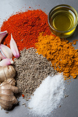 Close up of ingredients and spices of a typical South Asian food.