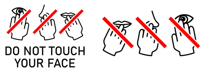 Set of do not touch your face icon. Simple black white drawing with hand touching mouth, nose, eye crossed by red line. Can be used during coronavirus covid-19 outbreak prevention