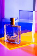 Perfume bottle in studio.