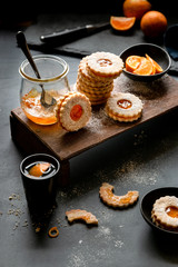Orange linzer cookies