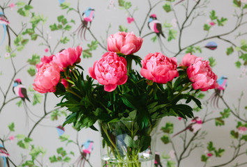 Pink peonies and wallpaper.