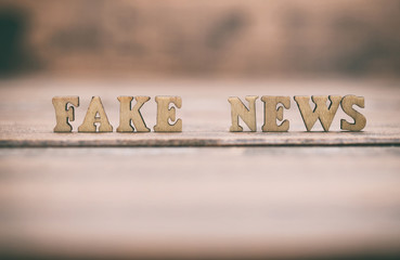 Fake news wooden letters on a wooden background. Fake news concept.