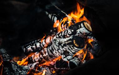 Photo sur Aluminium Texture de bois de chauffage Wood fire with ash, сloseup