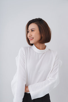 Portrait of elegantly dressed young gorgeous asian woman