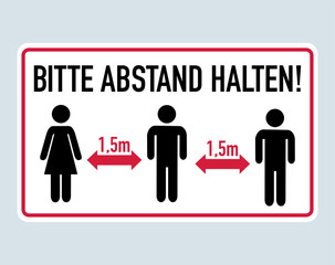 Obraz Bitte Abstand halten - German for Please keep distance 1,5 meter - fototapety do salonu