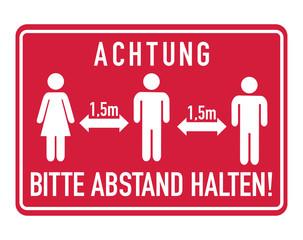 Obraz Achtung, bitte Abstand halten. German for Caution, please keep distance - fototapety do salonu