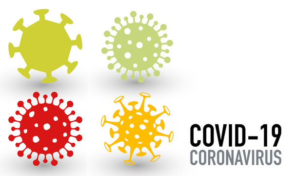 Set of virus vector icons covid-19 coronavirus