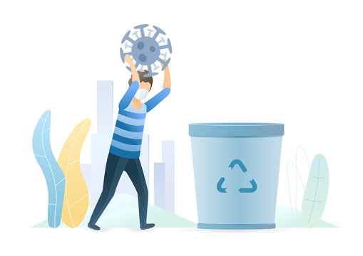 Man throws a coronavirus bacterium into a trash can. Invention of the vaccine. Epidemic MERS-CoV virus 2019-nCoV. Vector flat illustration concept on white background.