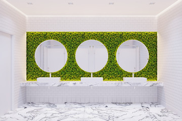 The interior of the public toilet in eco-style with vertical landscaping, round mirrors and white tiles. Front view. 3d render