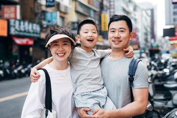Portrait of family traveling in Taiwan