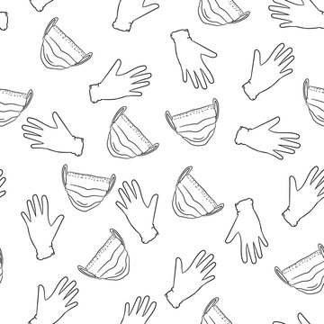 Seamless doodle background with medical mask and gloves.