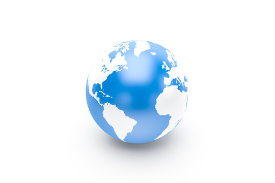 3d Rendering of Globe Blue and White.