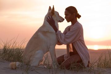 woman with dog Fotobehang
