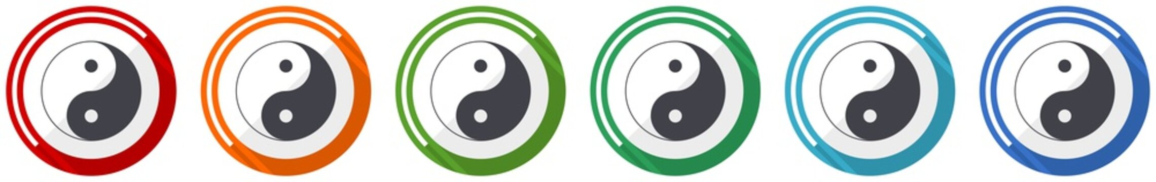 Ying yang icon set, flat design vector illustration in 6 colors options for webdesign and mobile applications