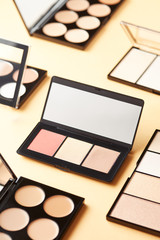 Palettes of contouring products in layout