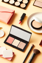 Stylish palettes of cosmetic powders