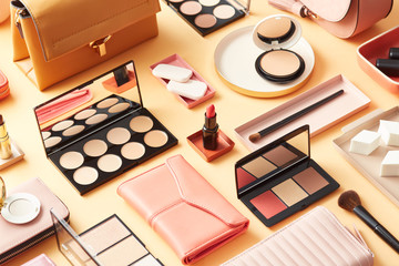 Assorted layout of cosmetics and accessories