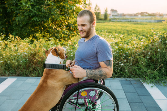 Happy young man in a wheelchair in his daily routine