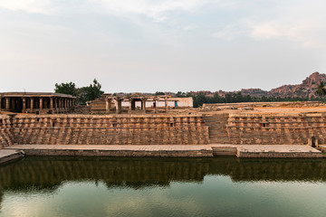 Pond at ancient Virupaksha Temple complex