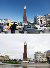 A combination picture shows cars and people passing by the clock tower at the end of Avenue Habib Bourguiba on March 12, 2020 and a deserted square around the same clock tower, following the coronavirus disease (COVID-19) outbreak in Tunis